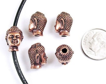 TierraCast Pewter Beads-Antique Copper BUDDHA HEAD (5)