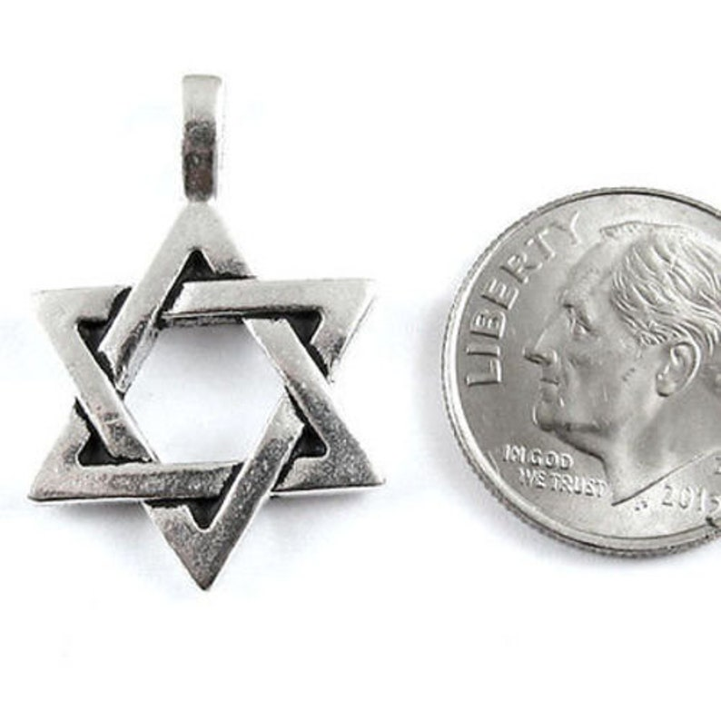 Silver Star of David Pendant TierraCast Pewter Charm 1 Piece
