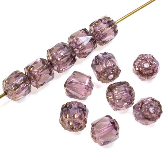 24 Beads Czech Glass Leaves Item LF696 Fused Dark Amethyst and Cream