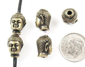 Brass Oxide Buddha Head Beads for Leather TierraCast Pewter (5 Pieces)