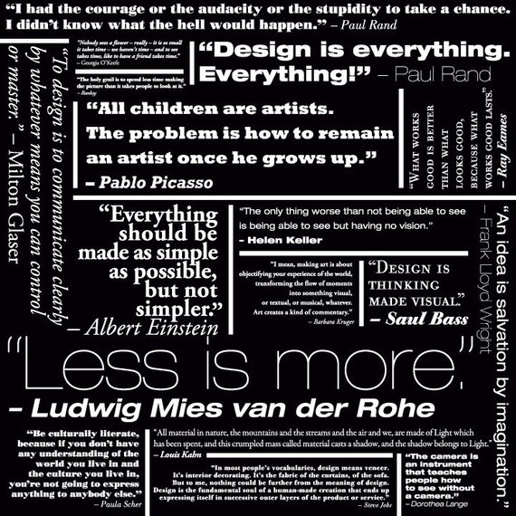Mies Van Der Rohe Design Philosophy.Designers Quotes 24 X 24 Framed Etsy