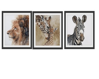 animal nursery art print boy nursery art Safari Nursery PRINT SET modern minimalist watercolor painting africa boy girl zebra giraffe lion
