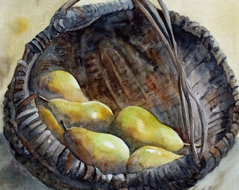 Watercolor pear painting. Rustic fall decor. Art Print for Thanksgiving decoration for Kitchen art Print. Pears PRINT. Basket of fruit