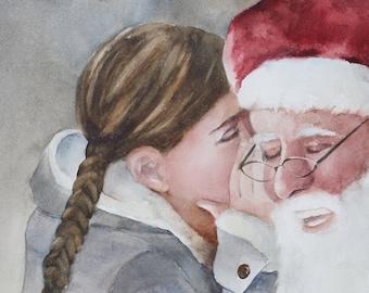 Watercolor Santa of Painting. PRINT of Santa holding girl. Art For Christmas DECOR. Santa Claus PRINT Santa wall art st nick