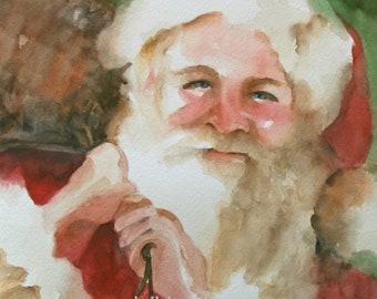 Christmas decoration- Christmas wall decor- Santa painting- Santa Wall hanging- Santa- PRINT for Holiday decor- Holiday watercolor 11 x14