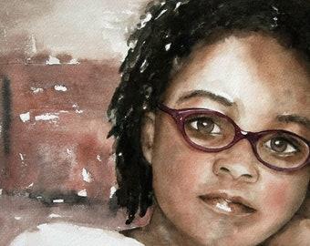 watercolor portrait painting of girl. watercolor painting. portrait of girl African American Girl. art print portrait. PRINT