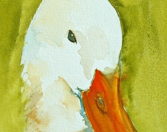 farm house decor for farm house White Duck PRINT of duck from original watercolor duck painting duck nursery children green YOU PICK