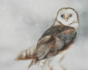 Halloween Owl painting. Halloween decor. Fall decor gift for him. Owl art PRINT. Owl PRINT wall art owl artwork. for her