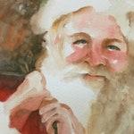 Watercolor Santa Painting. For Christmas. For her. Christmas art. Santa Claus PRINT Santa. portrait Santa wall art st nick red