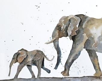 Nursery animal print art- Watercolor painting- Elephant PRINT- African wall hanging- Minimalist- Nursery art baby elephant with mother