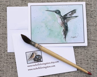 Valentine's gift idea for mom. Bird card watercolor card. Watercolor NOTE CARDS with bird painted. Blank Bird Note cards notecard set 1
