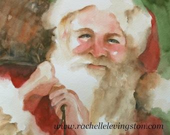 christmas Large decor Santa PRINT Santa art print Watercolor Santa Painting Christmas decor Christmas wall hanging red green Vintage