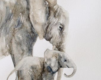 baby elephant painting of elephant. nursery art print for nursery.  Safari nursery print.  Peek a boo animal print SET. For mom gift