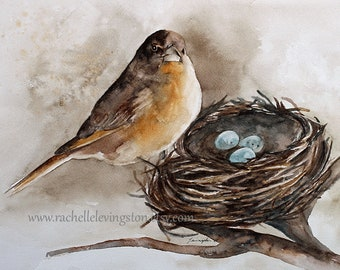 For her. Painting of robin. Bird painting. Bird art PRINT. Bird art. Bird painting watercolor painting. Mom Gift for Mother's Day.