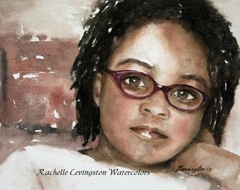 watercolor portrait painting of girl watercolor painting portrait of girl African American Girl art print portrait Print glasses