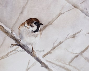 Watercolor bird PRINT of Bird on branch. Watercolor Painting of Chickadee bird PRINT. Winter bird Painting. Bird Painting Watercolour