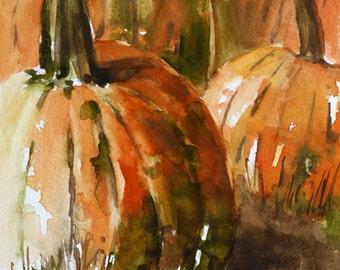 Primitive Pumpkin Decor. Fall decoration Autumn decor. Autumn art print. Pumpkin PRINT of pumpkins. Painting of Pumpkin patch. Fall artwork
