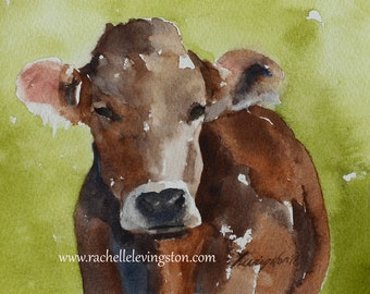 for him fathers gift Brown Cow PRINT folk art painting folk art watercolor cow painting animal painting watercolor painting decor