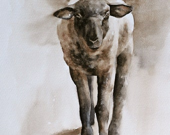 Farmhouse decor Easter decor. Baby shower gift for baby. Lamb art. PRINT of original watercolor sheep painting. Religious Easter print