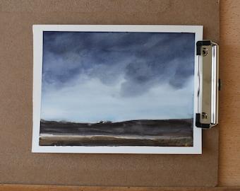 IMPRESSIONIST rain storm painting in watercolor Painting of sunset- Abstract watercolor painting ORIGINAL landscape watercolor PAINTING 2