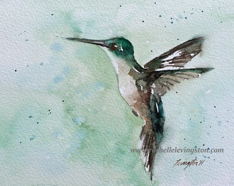 For her. Watercolor painting of a bird. Art print of a bird. PRINT SET. Painting of Hummingbird. painting. Mothers day gift
