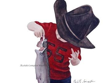 Nursery wall art-Nursery art print-Cowboy Art Print-Baby boy wall decor from original cowboy painting-Toddler Boy room decor-Red brown
