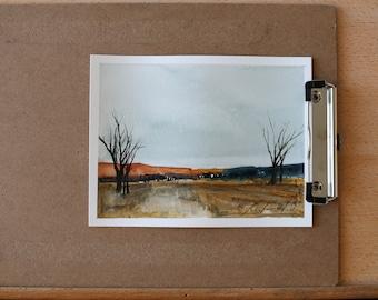 Loose watercolor painting ORIGINAL landscape painting MINIMALIST Original abstract landscape watercolor PAINTING national park orange blue 5