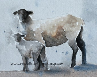 French country wall hanging french country home decor Art Sheep PRINT watercolor sheep painting Girls Kids Nursery art print HORIZONTAL
