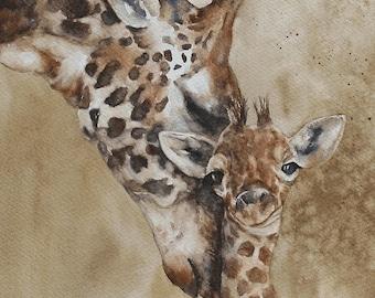 PRINT or ORIGINAL painting watercolor painting original watercolor painting watercolor animal painting Giraffe painting CUSTOM Commission