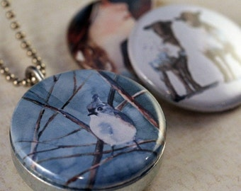 Polarity Locket (white black sheep necklace, blue bird necklace, girl portrait painting Interchangeable Set I Paintings by levingston