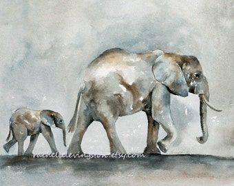 print for Nursery art print Gray Children room decor kids room decor Elephant with Baby PRINT Elephant PRINT Elephant Painting artwork dp