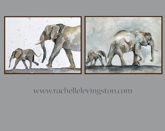 nuetral Nursery art print boy elephant nursery wall art PRINT Elephant nursery art boy baby elephant painting 11x14 toddler room decor