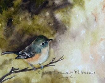for her bird painting bird art PRINT bird folk art bird victorian painting victorian art print painting vireo cottage chic bird painting
