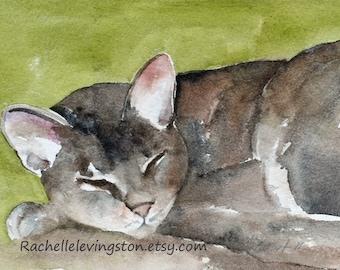 Cat Art PRINT of original watercolor cat painting, cute Grey Cat Print Gray Cat PRINT in green tan brown pet lover gift