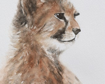painting cheetah painting cheetah PRINT cheetah art print watercolor Painting nursery art print safari home decor africa boy wall art