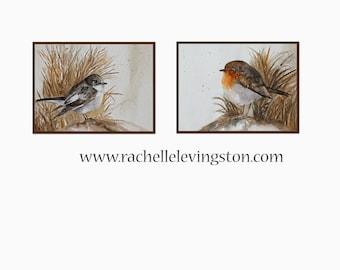 Watercolor bird painting- Bird illustration- Bird vintage painting bird- Neutral Wall decor art print- Flycatcher- Neutral bird print SET
