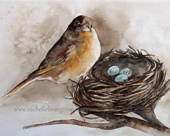 Aquarel vogel nest print vogel schilderij beige muur kunst etsy