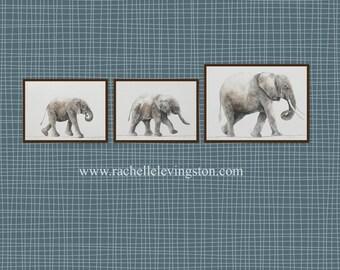 elephant baby shower elephant art PRINTS from original elephant painting animal SET baby elephant art nursery room decor africa wall hanging