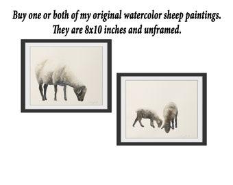 Original sheep painting original watercolor original painting in watercolor Sheep print nursery art print .YOU PICK print or original