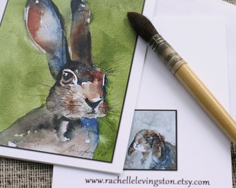 For her set of bunny card bunny stationery set watercolor card watercolor card set baby announcement Blank Animal CARDS baby invitations h