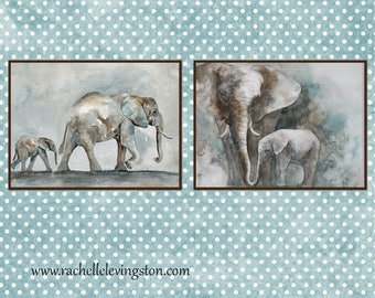 nursery painting of elephant PRINT watercolor painting elephant art PRINT SET giraffe wall art animal wall art boy room modern minimalist