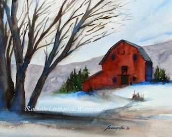 Winter landscape painting- Christmas Art PRINT- Red barn painting in watercolor- Decoration Christmas- Decor christmas wall art- Home decor