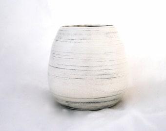 black on white wheel thrown ceramic bud vase