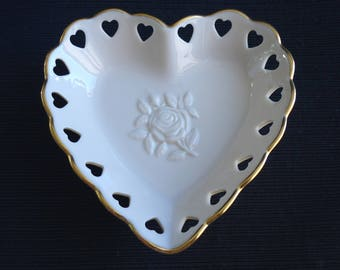 Vintage Lenox Heart Shaped Trinket or Candy Dish Embossed Rose Design Cream Ivory Reticulated Edge Cut Out Hearts
