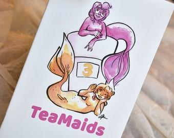 Teacup Mermaids Art Zine #3, Watercolor Mermaid Zine