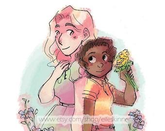 Flower Wreath Girlfriends, Missing Monday Digital Print