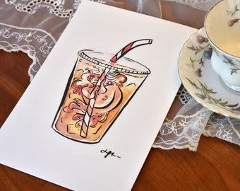 Peppermint Latte Mermaid Print, Watercolor Mermaid Print