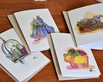 Succulent Card Set, Cactus Greeting Cards, Blank Card Set of 4