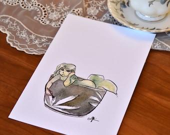 Green Tea Mermaid Print, Watercolor Mermaid Print