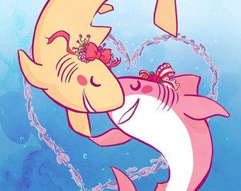 Shark Girlfriends Print, 8x12, Sweet Sharks Shimmer Print